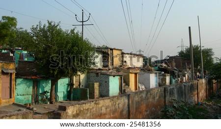 Poverty in Indian slum, New Delhi, India - stock photo