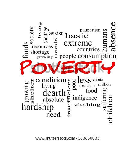 Poverty Word Cloud Concept in red caps with great terms such as poor, condition, people and more. - stock photo