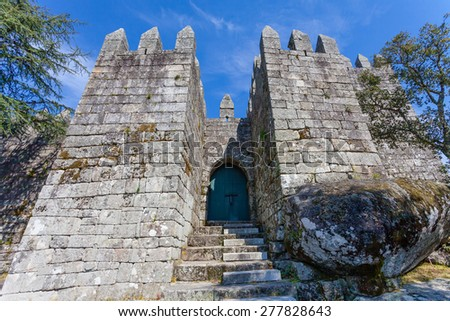 Povoa de Lanhoso, Portugal. April 6, 2015: Entrance of the keep of the castle where the first king of Portugal imprisoned his mother, after her defeat in the crucial battle for the independence - stock photo