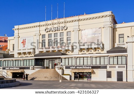 Povoa de Varzim, Portugal. December 28, 2015: Casino of Povoa de Varzim. One of the casinos of the Estoril-Sol III group, the largest casino group in Europe. - stock photo