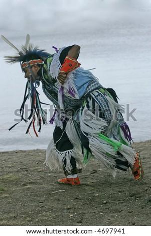 pow wow dancer 3 - stock photo