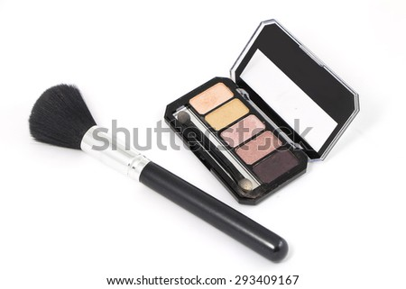 Powder Blush Swatches set isolated on white background - stock photo