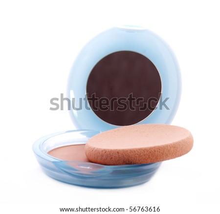 Powder case with mirror and sponge - stock photo