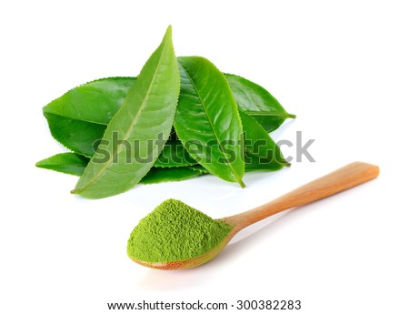 powder green tea and green tea leaf isolated on white background - stock photo
