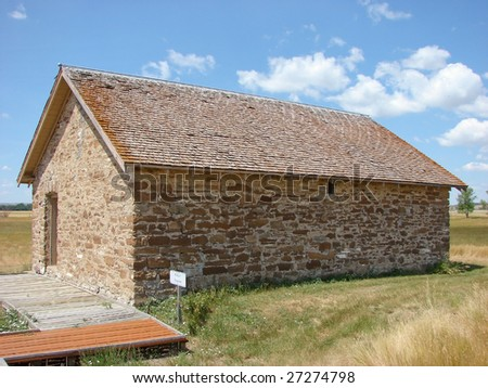powder magazine of frontier fort - stock photo
