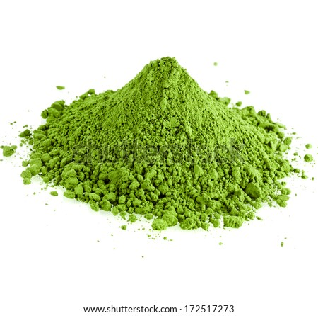 powdered hill green tea isolated on white background - stock photo