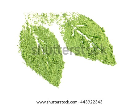 Powdered matcha green tea in leaves shape, isolated on white - stock photo