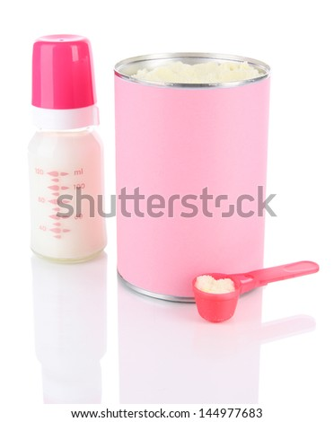 Powdered milk with baby bottle of milk isolated on white  - stock photo