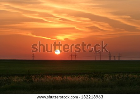 power against the rising sun and Tatarstan - stock photo