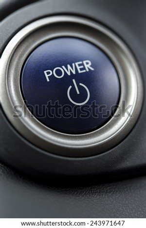 Power and start on and off button in car - stock photo