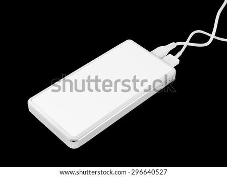 Power bank isolated. Recharge power bank. Empty power bank. Blank power bank. Recharge battery for smartphone. Charger tool. USB power bank isolated. Spare power battery for smartphone. Clipping path - stock photo