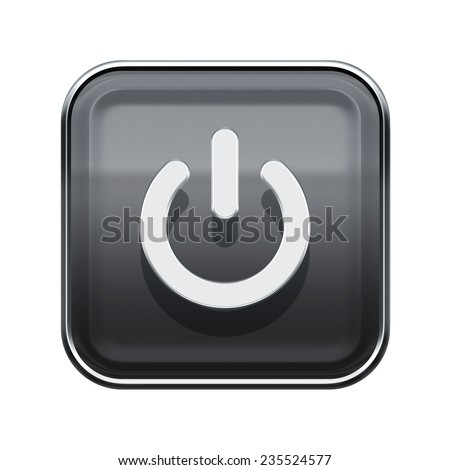 Power button icon glossy grey, isolated on white background - stock photo