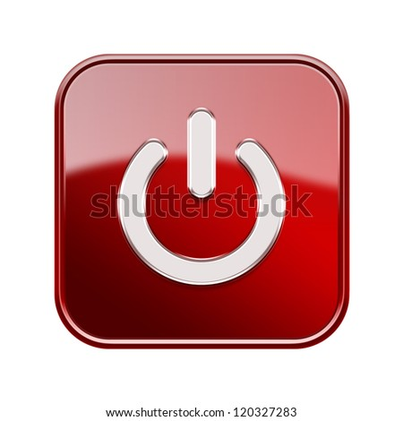 Power button icon glossy red, isolated on white background - stock photo