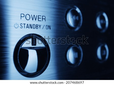 Power button on control panel - stock photo