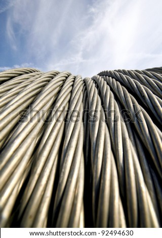 Power cables and sky - stock photo