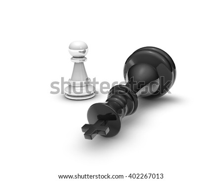 Power concept with chess pawn and ches king. 3D rendering isolated on white background. - stock photo