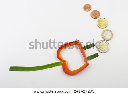 Power connector and money - stock photo