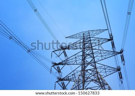 Power distribution tower - stock photo