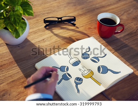Power Energy Plug Connect Networking Concept - stock photo