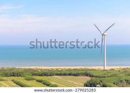 Power generation wind turbine - stock photo