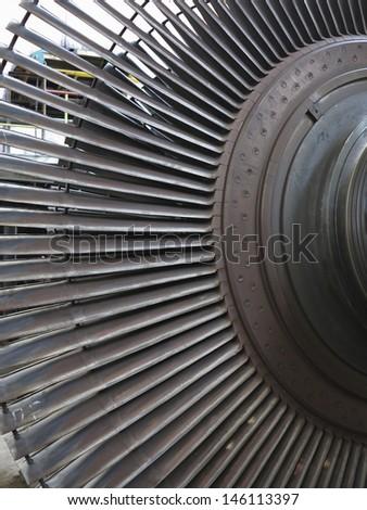 Power generator steam turbine during repair process at power plant - stock photo