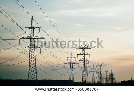 power line against sky background, retro style photography - stock photo