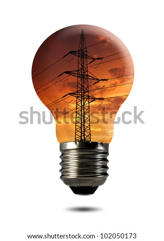 power line in the bulb - stock photo