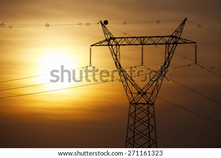Power line in Zaragoza province, Aragon, Spain - stock photo