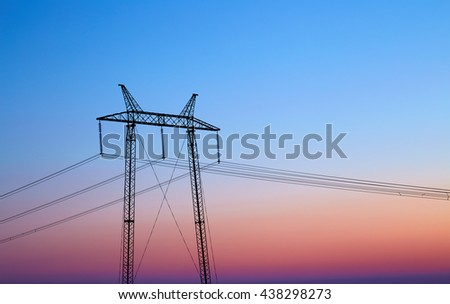 power line silhouette against the sky - stock photo