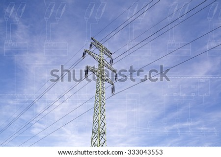 Power line tower with electrical technical single line diagram blueprint layer - stock photo