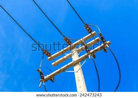Power lines and insulators  - stock photo