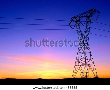 Power lines in Chico, CA - stock photo