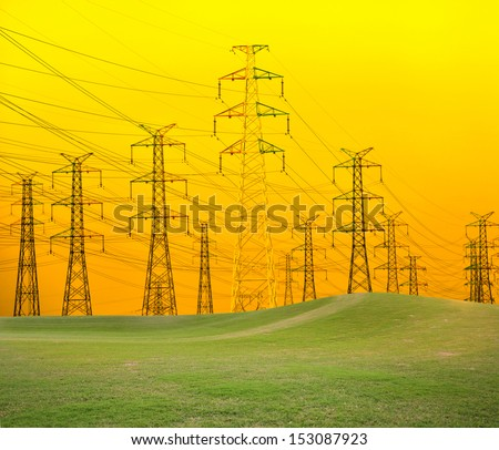 Power Lines, Power Transmission Towers  - stock photo