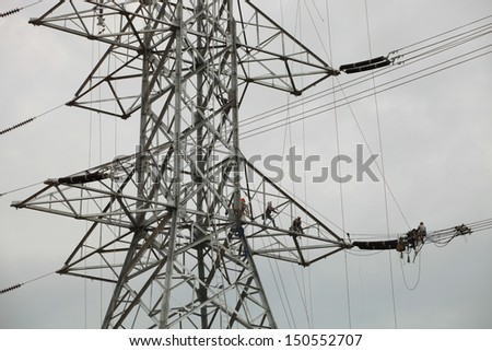 Power Lines, Pylon, Underconstruction Towers - stock photo