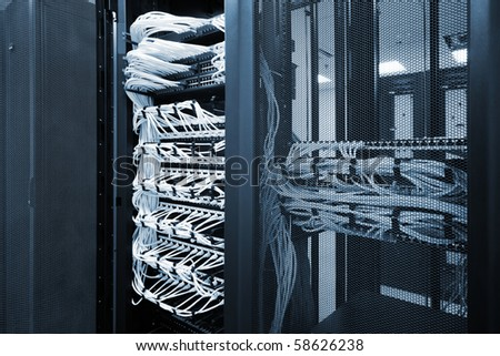 power modern network equipment to new office - stock photo