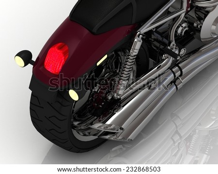 Power Motorcycle with exhaust view back on white background - stock photo