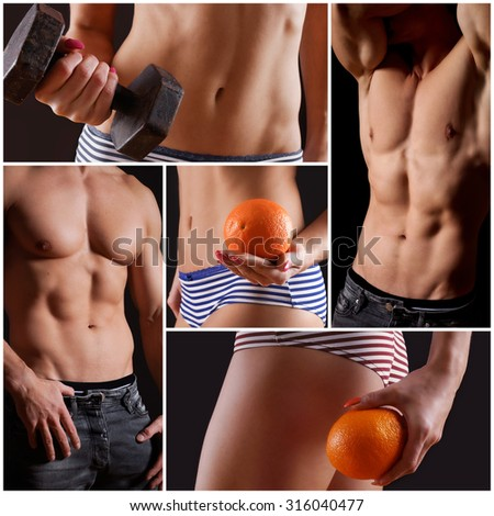 power muscles Collage - stock photo