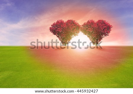 Power of couple lover, two red color tree in heart shape symbol,  representing romantic love spreading red color to grass field and blue sky, Valentine's Day holiday concept. - stock photo