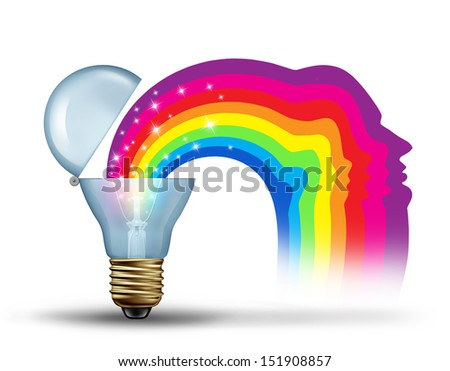 Power of innovation and visionary leadership freedom as a creativity concept for unleashing new ideas as a bright light bulb opening up to reveal a sparkling rainbow in the shape of a human head. - stock photo