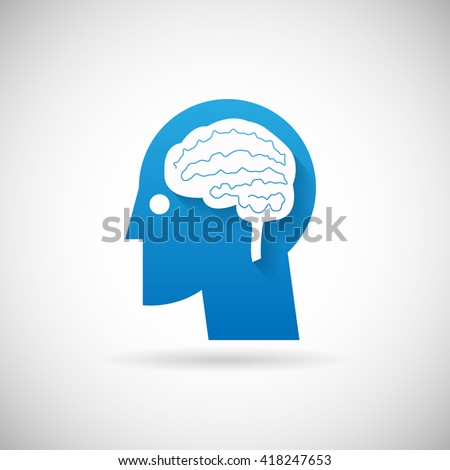 Power of Intelligent Symbol Head with brain Silhouette Icon Design Template Illustration - stock photo