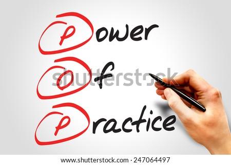 Power Of Practice (POP), business concept acronym - stock photo