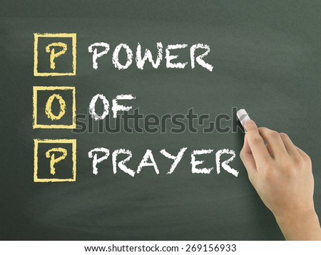Power Of Prayer written by hand on blackboard - stock photo