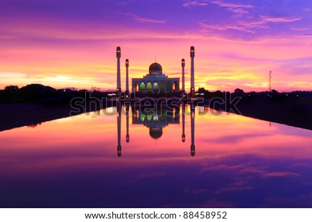 Power of Sunset over Central Mosque  Songkhla,Thailand - stock photo