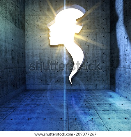Power of thinking, spirituality and imagination, futuristic concept with shape of a human head opening in wall. - stock photo