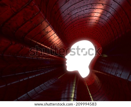 Power of thinking, spirituality and imagination, futuristic concept with shape of a human head opening in wood tunnel  - stock photo