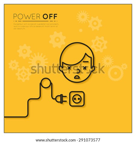 Power off. Disconnected man. Business and electronic, electric connection,  human supply - stock photo