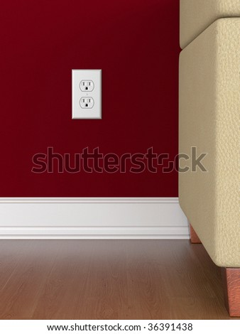 Power outlet on red wall with wooden floor - stock photo