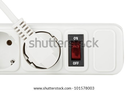 Power outlet with red button on a white background - stock photo