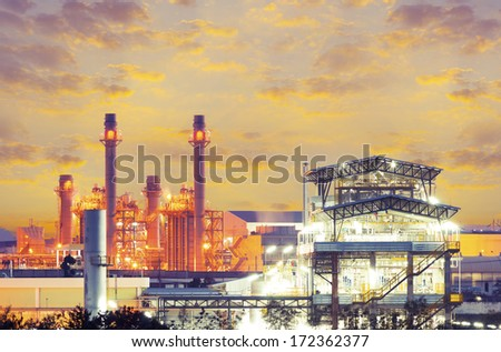 Power plant and factory at twilight time. - stock photo