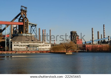Power Plant and waste water - stock photo